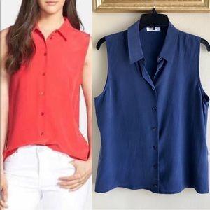 [Equipment Femme] Silk Button Up Sleeveless Blouse